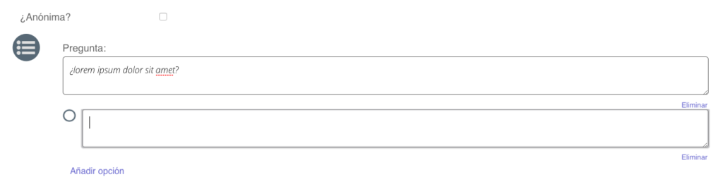 Pregunta de opciones de encuesta